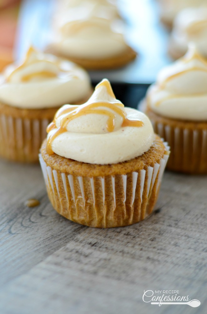 Brown Butter Pumpkin Cupcakes with Caramel Cream Cheese Frosting is the best recipe ever! These made from scratch cupcakes are super moist and the caramel cream cheese frosting is out of this world!