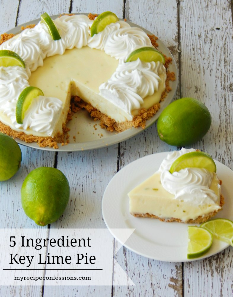 5 Ingredient Key Lime Pie is the BEST key lime pie recipe out there! It's quick, easy and will blow you away with its amazing flavor! This pie can seriously be whipped up in under 20 minutes. Nobody will believe that you didn't slave in the kitchen all day making it. The smooth and creamy texture and the tart burst of the lime makes this pie the BEST EVER!