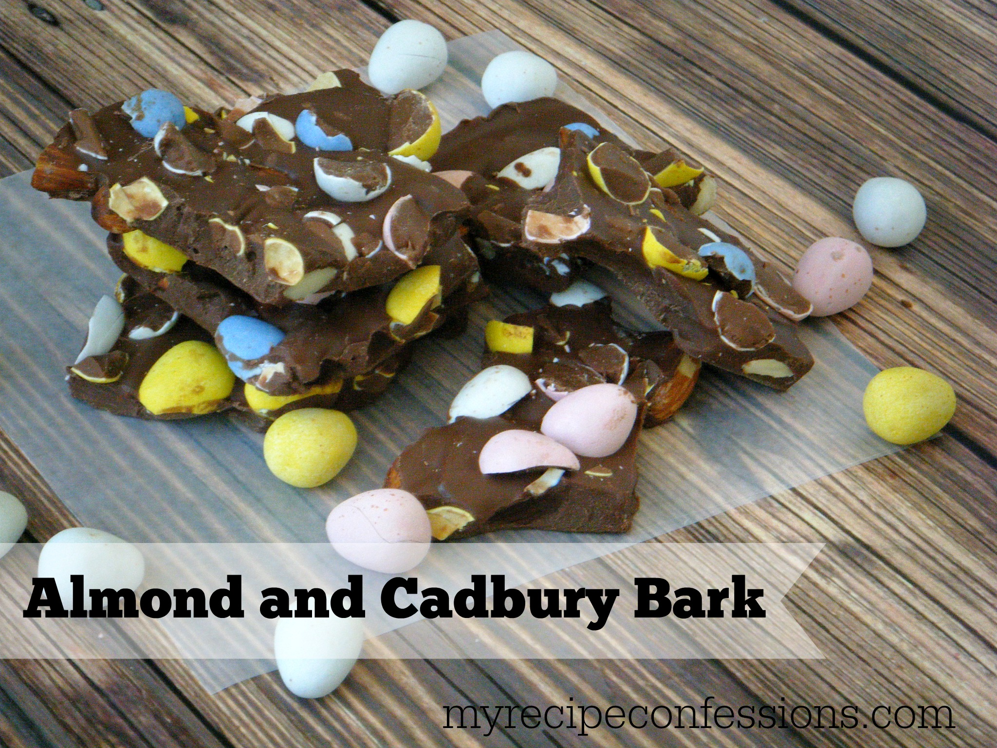 Almond and Cadbury Bark. Who can resist Cadbury eggs and almond held together by milk chocolate? I know I can't. This is one of the easiest recipes you will ever make. I love easy desserts, and it doesn't get any simpler than this.
