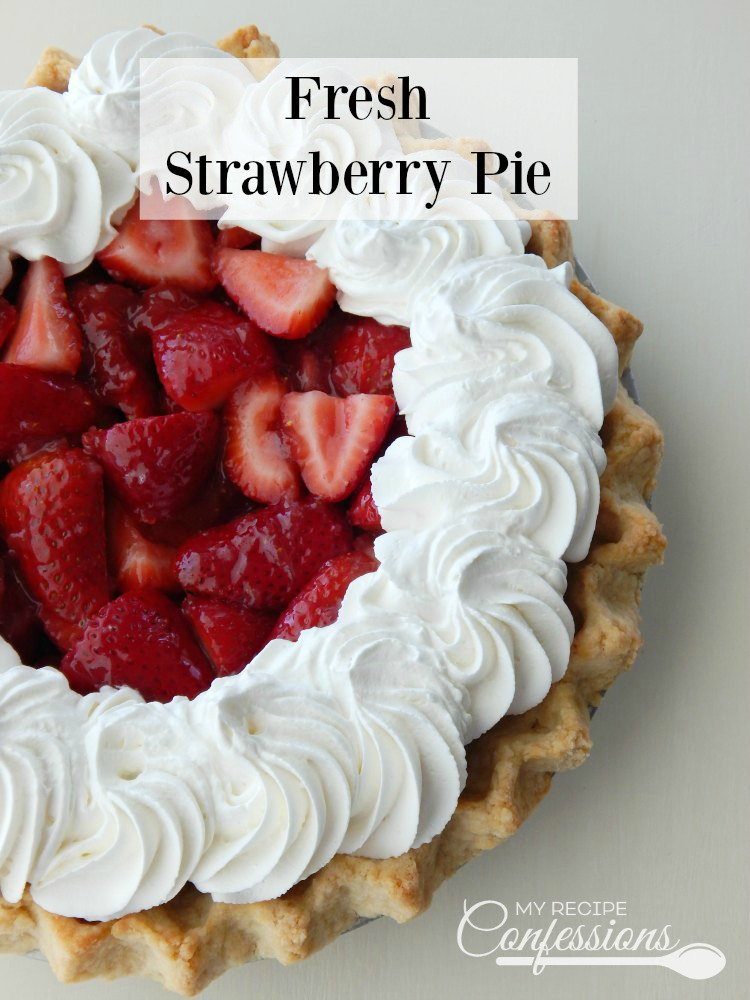 Fresh Strawberry Pie is the BEST pie ever! The fresh sliced strawberries and the homemade glaze is incredibly amazing! The strawberry filling and flaky crust topped with whipped cream are what makes this pie the BEST there is!