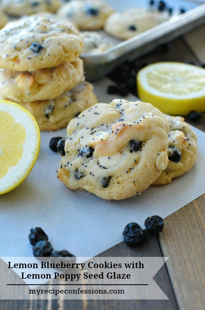 Lemon Blueberry Cookies with Lemon Poppy Seed Glaze are the best cookies you will ever taste! They are so refreshing and bursting with flavor. Every time I make these cookies they are gone within minutes. They are soft, chewy, and so easy to make. This recipe rocks!