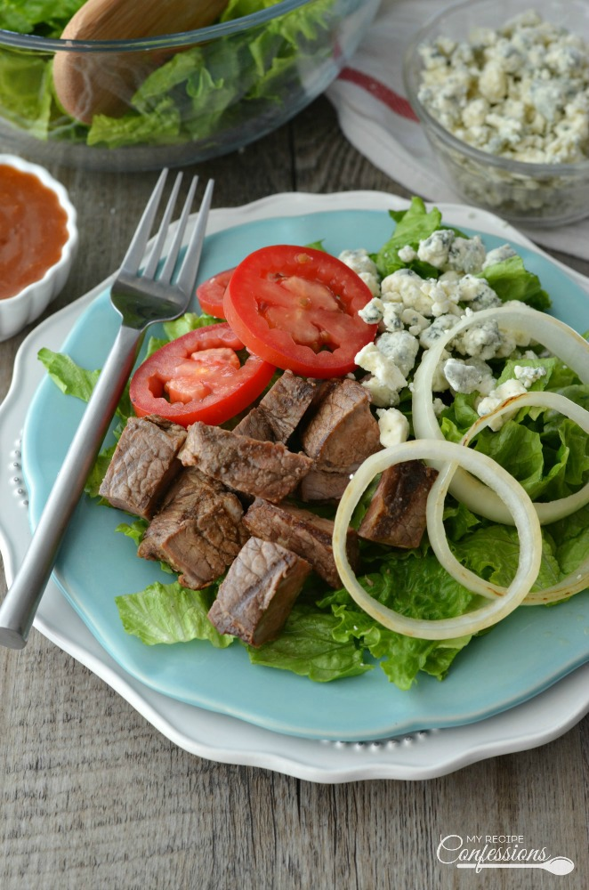 Grilled Steak and Blue Cheese Salad is the perfect healthy, low-carb,  gluten-free dish that EVERYBODY will love!  The tangy apple cider dressing is a game changer. This recipe is quick an easy and can be on the table in less than 20 minutes.