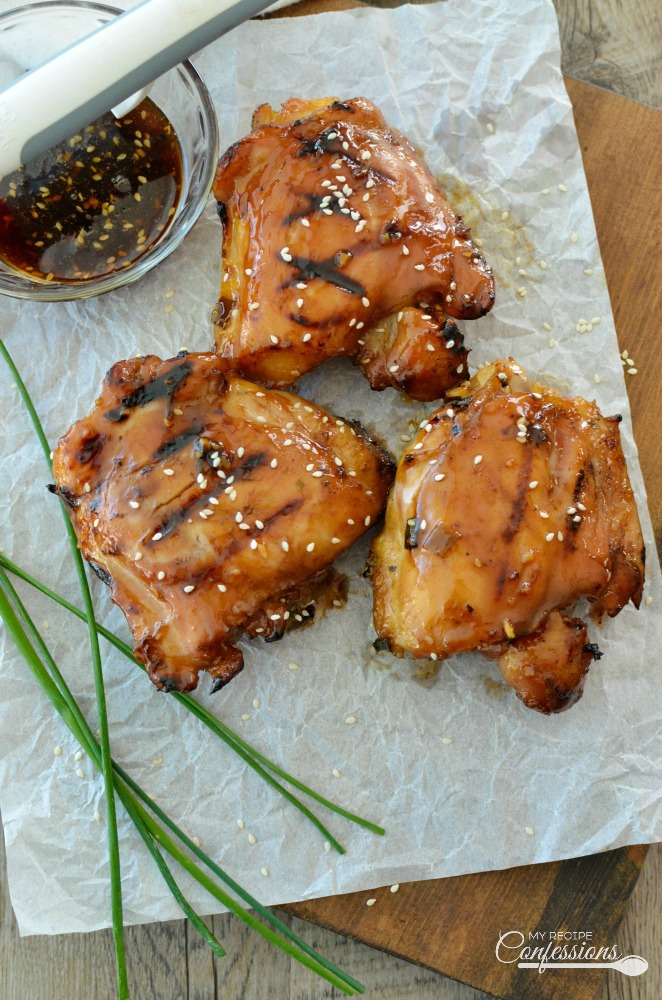 Grilled Honey Teriyaki Chicken will quickly become your favorite recipe! The marinade is out of this world and makes the the chicken thighs so dang moist. I can't believe how flavorful and tender this chicken is. They are so easy to make and so incredibly amazing!