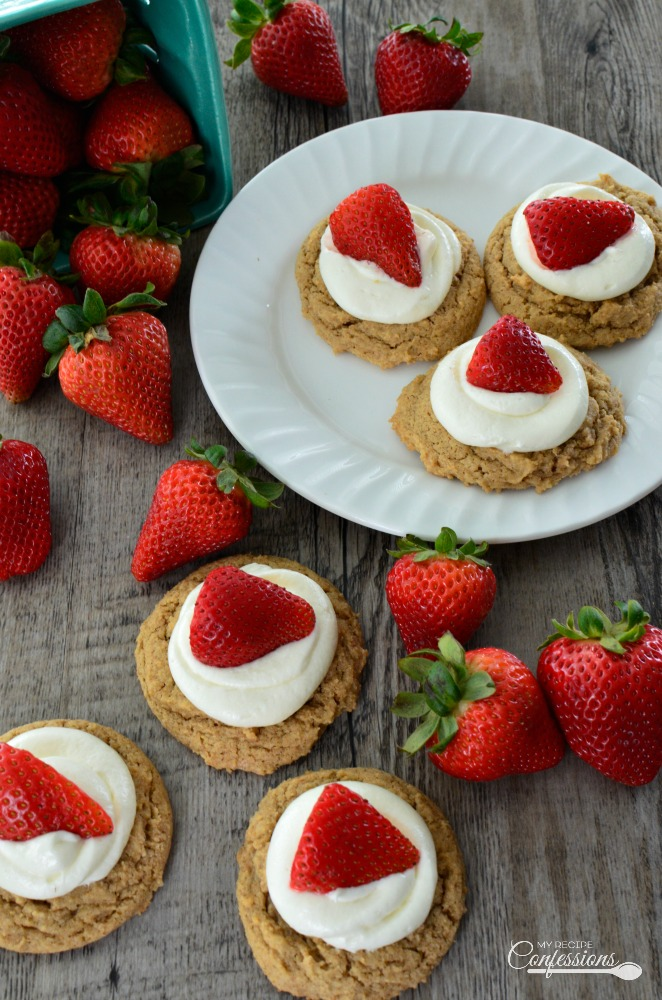 Strawberry Cheesecake Cookies taste just like the real thing. From the graham cracker cookie and the cheesecake frosting to the fresh strawberry on top. These cookies are a lot easier to make than a regular strawberry cheesecake. My family loves them. They are perfect for any party and are even elegant enough to serve at a wedding reception.