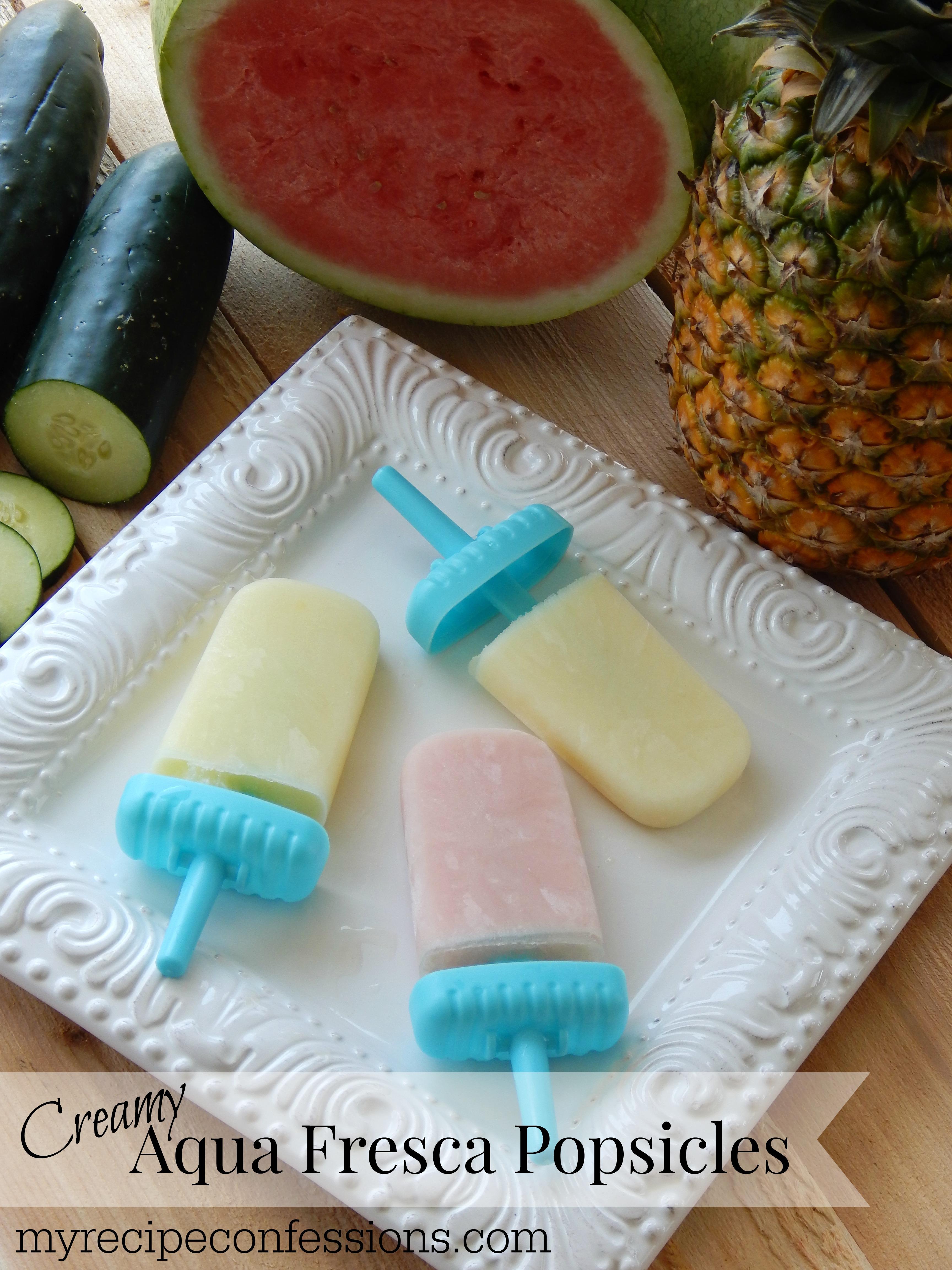 Creamy Aqua Fresca Popsicles
