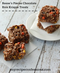 Reese's Pieces Chocolate Rice Krispie Treats
