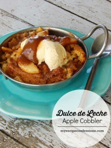 This Dulce de Leche Apple Cobbler is everything you can imagine and more! It's the perfect apple recipe for fall. This is a dessert recipe that you will be making over and over again. You have got to check out the secret ingredient in the topping.