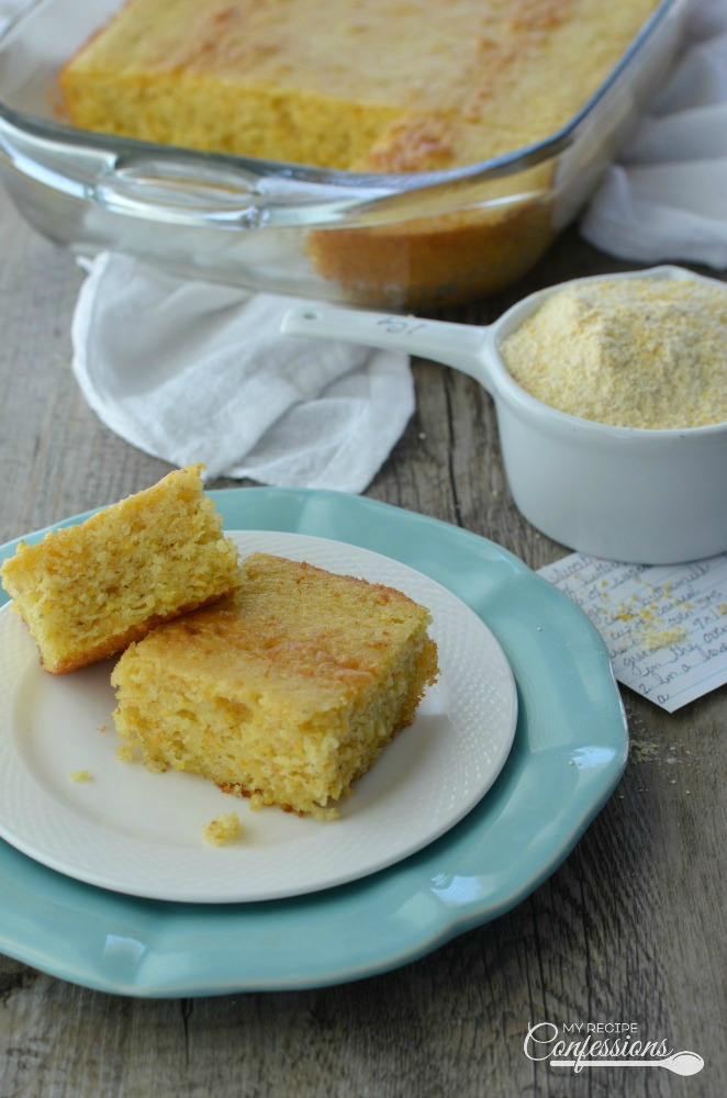 Easy Sweet Buttermilk Cornbread tastes just like Southern cornbread. The moist, tender texture and buttery sweet flavor makes this the BEST cornbread recipe ever! This homemade cornbread is just as easy to make as a box mix.