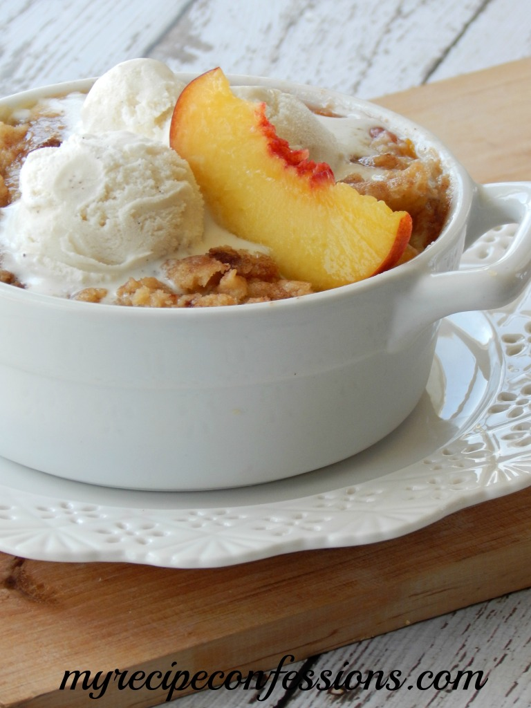 I love Fall! One of my favorite fall recipes is Peach Cobbler. I love to eat it hot out of the oven with a big scoop of vanilla ice cream on top. Make a batch of this Peach Cobbler and enjoy it while you get out all your fall décor.