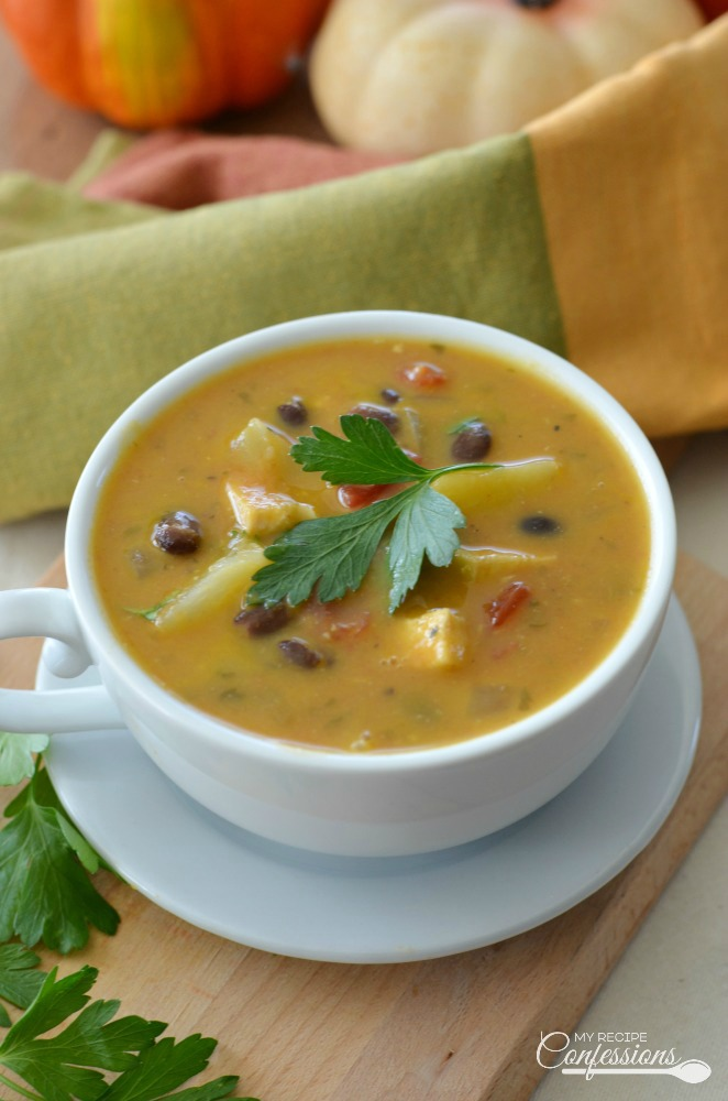 Caribbean Chicken Pumpkin Soup is refreshing and comforting all at the same time. The pineapple and cilantro give the soup a vibrant flavor, while the coconut, black beans, curry, and pumpkin round it out and give it a warm comforting taste. You have to try this recipe, it's truly life changing!