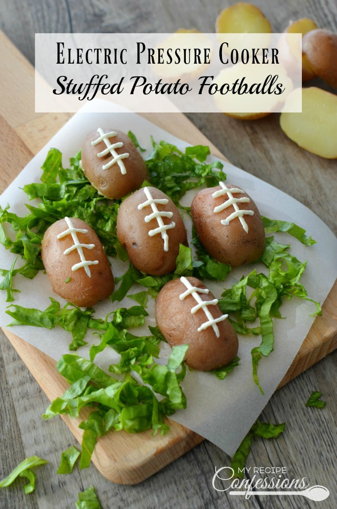 Stuffed Potato Footballs are the perfect appetizer for your football party! Between the crispy skin and the cheesy bacon filling, it's a guaranteed touchdown! Follow the Electric Pressure Cooker instructions and cook the potatoes in 3 minutes. Trust me, these potatoes are always a winner at parties!