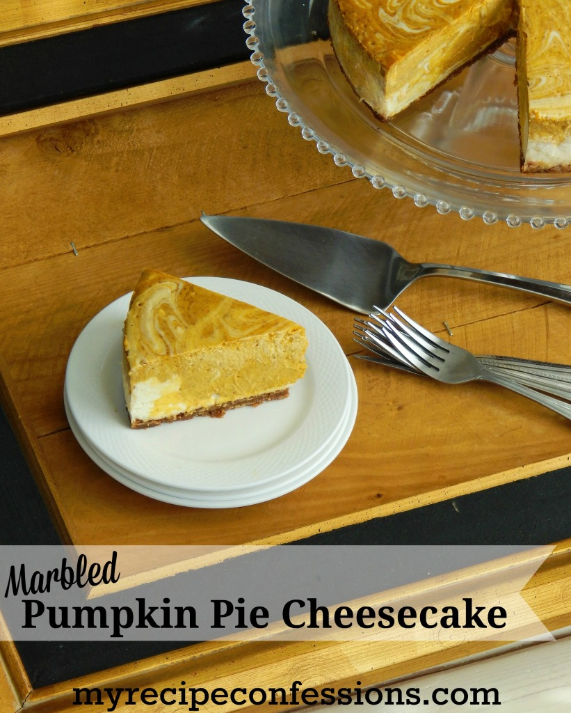 Marbled Pumpkin Pie Cheesecake is a perfectly spiced pumpkin pie cheesecake with swirls of creamy new york cheesecake. As if that wasn't good enough, the gingersnap crust takes this cheesecake to a whole new level. The recipe is easy to follow and makes the perfect fall dessert!