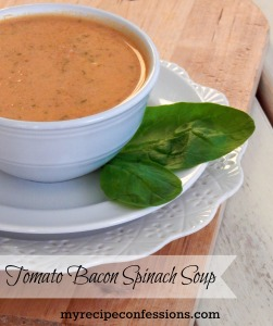 Tomato Bacon Spinach Soup