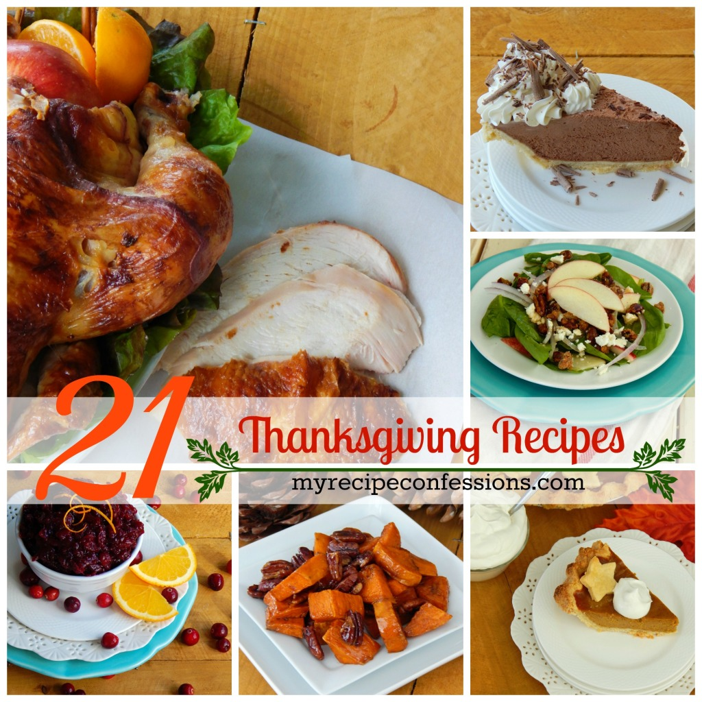 21 Thanksgiving Dinner Recipes. This is a compilation of the best tried and true thanksgiving dinner recipes out there. Not only is there a step by step tutorial on how to brine a turkey, you will also find crockpot recipes, pumpkin recipes, thanksgiving desserts, and more. It is basically  a list of all the thanksgiving recipes you will need for thanksgiving!