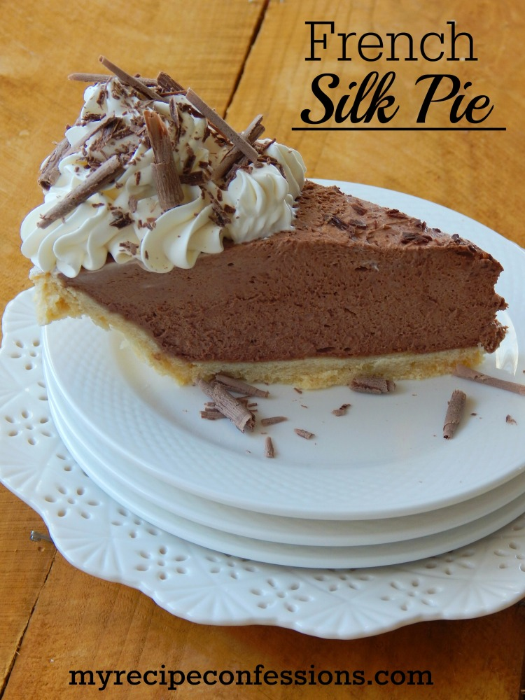 French Silk Pie. I have tried many French silk pie recipes, and this one is the easiest and the tastiest! I love the fluffy, rich chocolate mousse with the homemade whipped cream. This is one of the best desserts you will ever make! There is never any leftovers and I always get asked for the recipe.