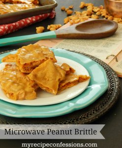 Microwave Peanut Brittle. My grandma made peanut brittle every Christmas when I was little. This is one of those miracle recipes that tastes like it would be so difficult to make, yet in truth it is super easy! Need gift ideas? Do you like diy gifts? Need teacher gifts? This candy makes a great gift for teachers, neighbors, co-workers etc.
