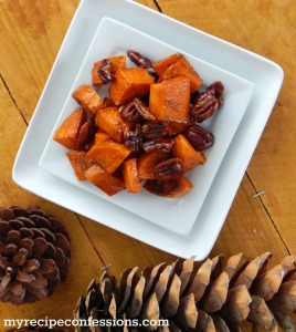 Maple Roasted Pecan Yams. Do you like yams? Do you have any good yam recipes? You HAVE to try this recipe! Your Thanksgiving dinner will be that much better with these yams. They are so addicting, I promise you won't have any leftovers. So add this recipe to your Thanksgiving recipes collection for a unforgettable dinner!