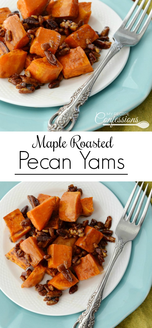 Maple Roasted Pecan Yams practically melt in your mouth. They are baked to perfection with a crispy outside and silky smooth on the inside. I am warning you that this simple and easy recipe is super addicting!