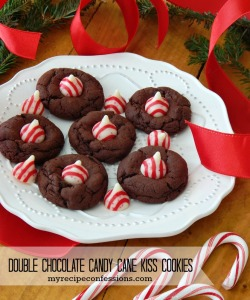 Double Chocolate Candy Cane Kiss Cookies. Christmas is always filled with amazing cookies. There are a ton of cookie recipes out there but you really need to try this recipe! These cookies are a soft brownie like chocolate cookie that melt in your mouth. The Candy Cane Kiss is the perfect touch to this already amazing cookie. If you are looking for some superb desserts this holiday season this is your recipe!