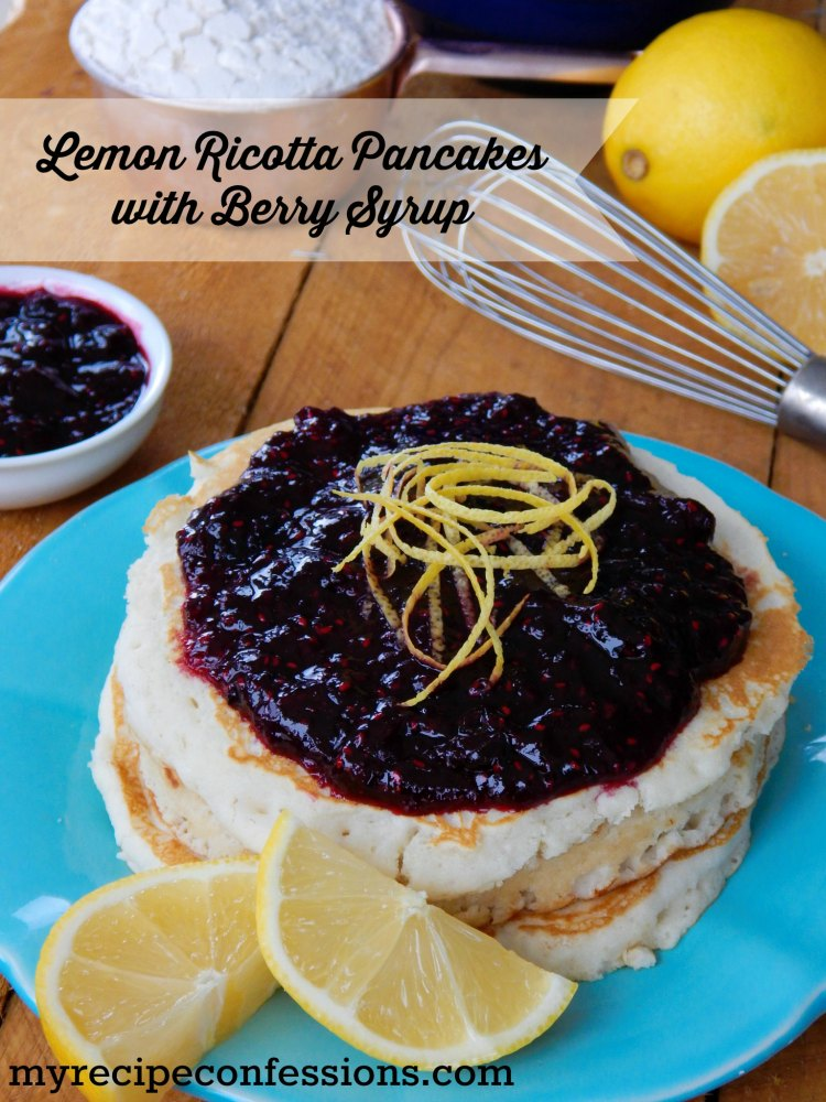 Lemon Ricotta Pancakes with Berry Syrup