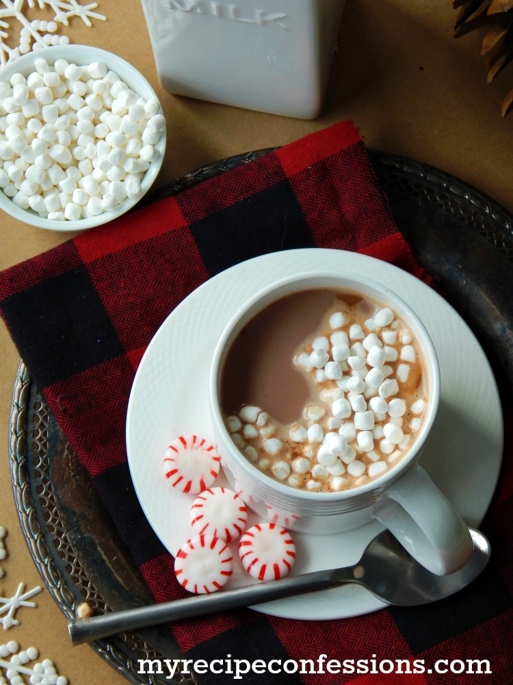 Easy Peppermint Hot Chocolate is the best recipe ever! This homemade hot chocolate is so much better than any mix! It is a creamy chocolate with the perfect amount of peppermint.