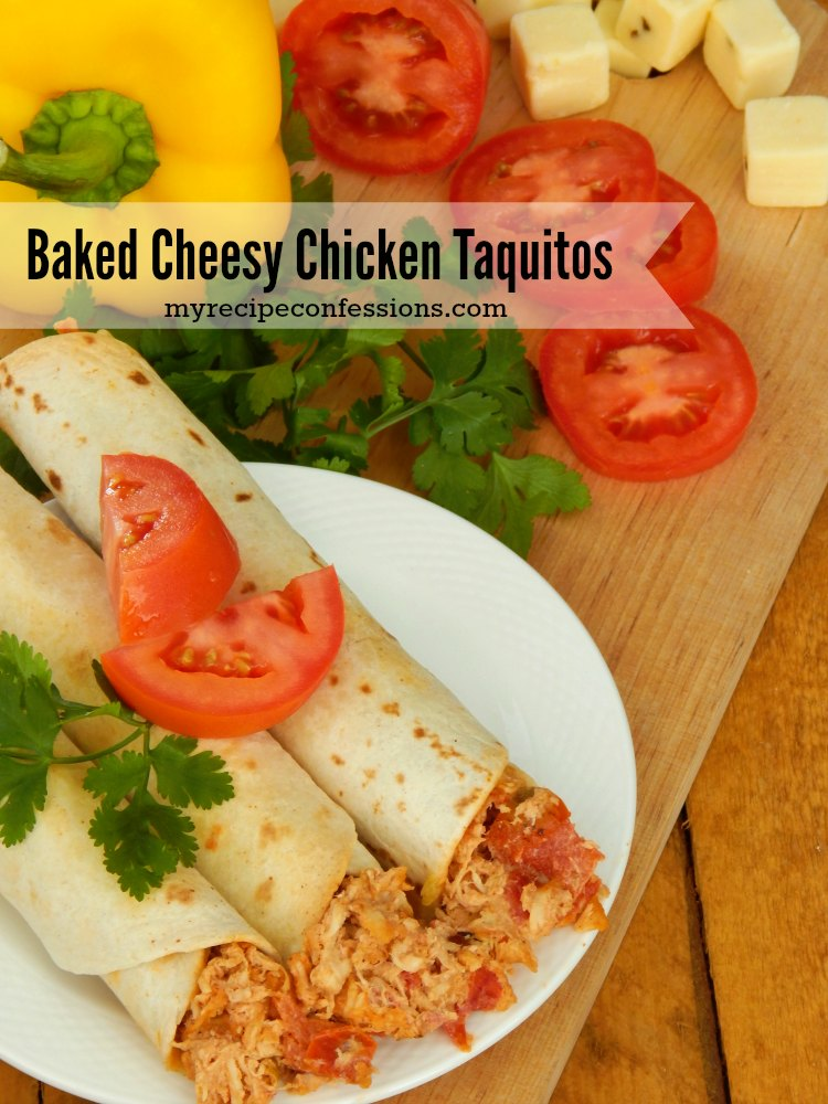 Baked Cheesy Chicken Taquitos. I am always looking for yummy chicken recipes. These taquitos are so much better than the store bought ones. This is one of my family's favorite dinner recipes. You can make them smaller and serve them as appetizers too.