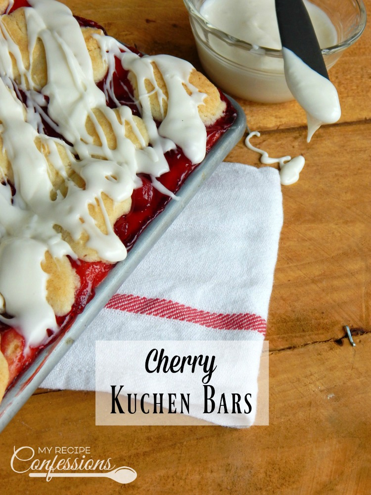 Cherry Kuchen Bars (A.K.A Cherry Pie Bars) are moist pie bars with a rich buttery flavor. The cherry filling and sweet creamy glaze put this dessert over the top. This recipe is one of my favorite go-to desserts. They are so easy but look so complicated. Everybody who tries them loves them!