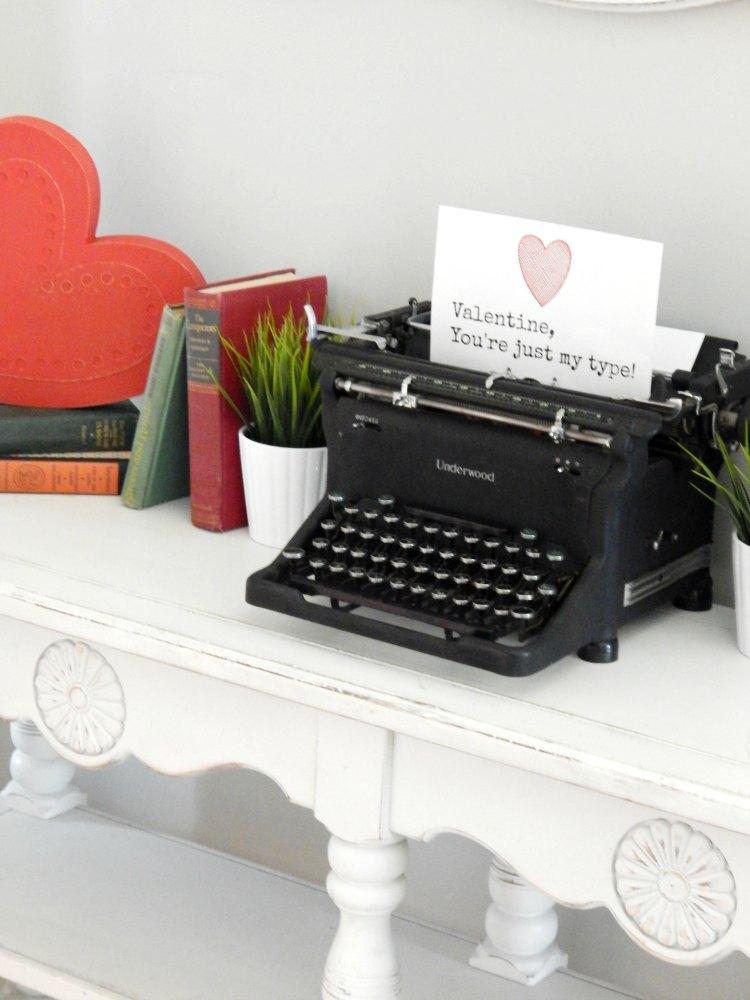 Typewriter free valentine printable