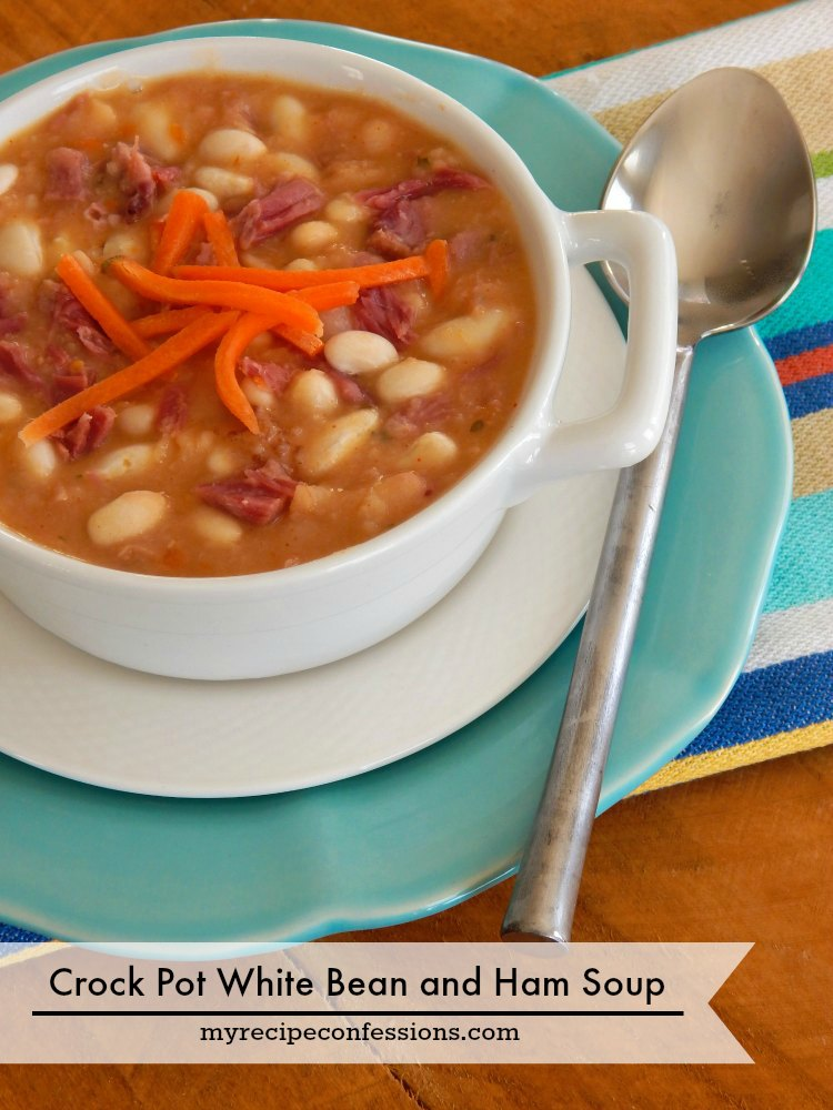 Crockpot White Bean and Ham Soup is the very definition of comfort food! This recipe tastes just like the soup my grandma use to make. I love how easy it is to throw everything in the slow cooker and forget about it until dinner time.