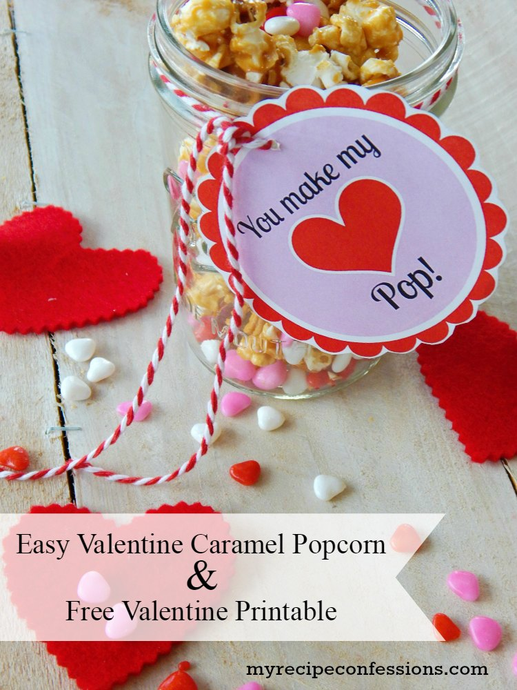 picture about Popcorn Valentine Printable named Basic Valentines Working day Caramel Popcorn - My Recipe Confessions
