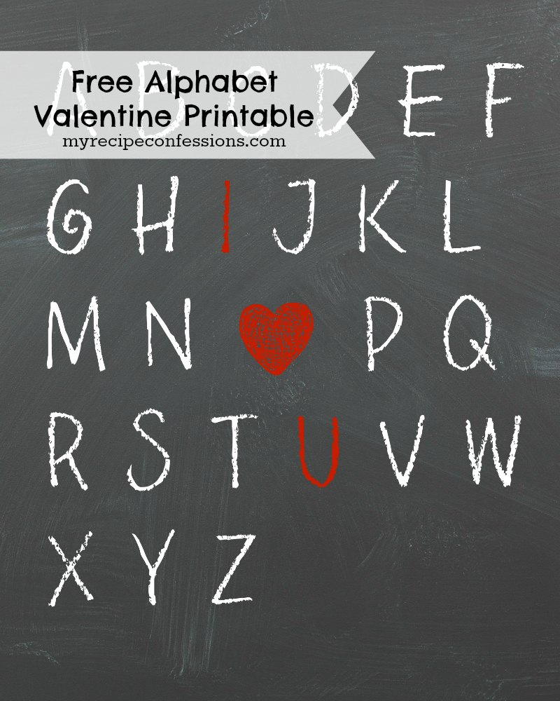 Free Alphabet Valentine Printable