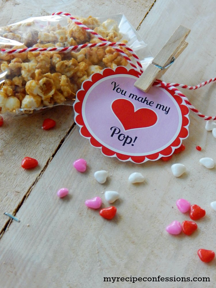 Easy Valentine's Day Caramel Popcorn and Free Printable. This is one of the best caramel popcorn recipes around! It only takes a few minutes to make. I love that isn't the sticky kind of caramel. If you need gift ideas this is a great one! The cute free printable makes it even easier. We have made it in the past for teacher gifts. Trust me, this recipe is a keeper!