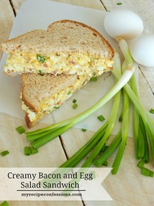 Creamy Bacon and Egg Salad Sandwich. This sandwich recipe requires very little time in the kitchen. I have tried many other egg sandwich recipes and this one is the best! This sandwich is a great way to use up all your colored Easter eggs. You can make cut the sandwiches smaller and serve them as appetizers, or leave the bacon out for a vegetarian sandwich.