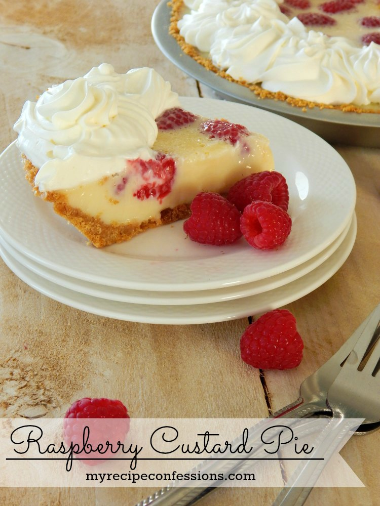 Raspberry Custard Pie. This pie is unbelievably amazing! It is so dang easy, in fact you only have to bake it for 12 minutes. Don't waste your time with and other recipes. This is one of my family's favorite desserts. The custard is creamy and rich and the raspberries add the perfect pop of flavor.