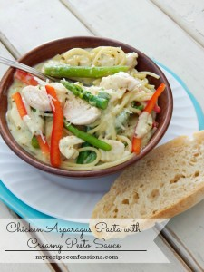Chicken Asparagus Pasta with Creamy Pesto Sauce