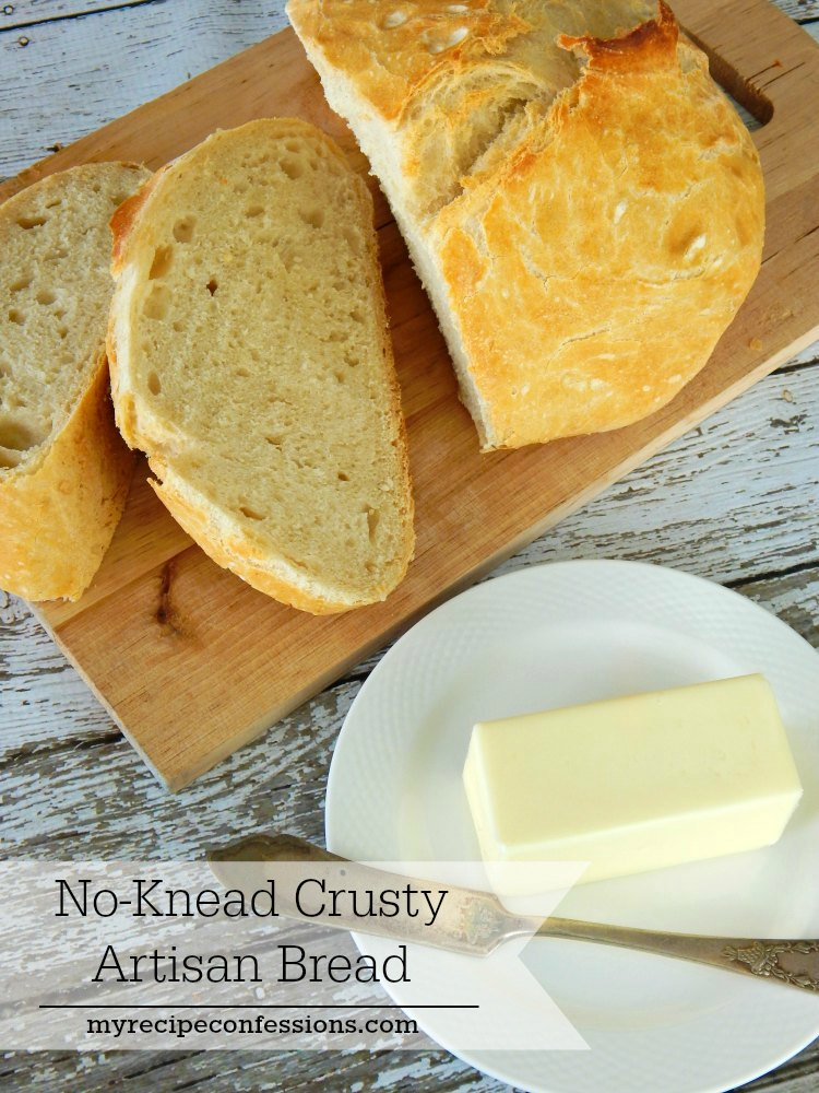 No-Knead Crusty Artisan Bread is the easiest bread you will ever make! It is light and fluffy and only requires 5 ingredients. There is no kneading involved and the results are amazing! This simple bread recipe tastes just like the artisan bread you buy at the bakery.
