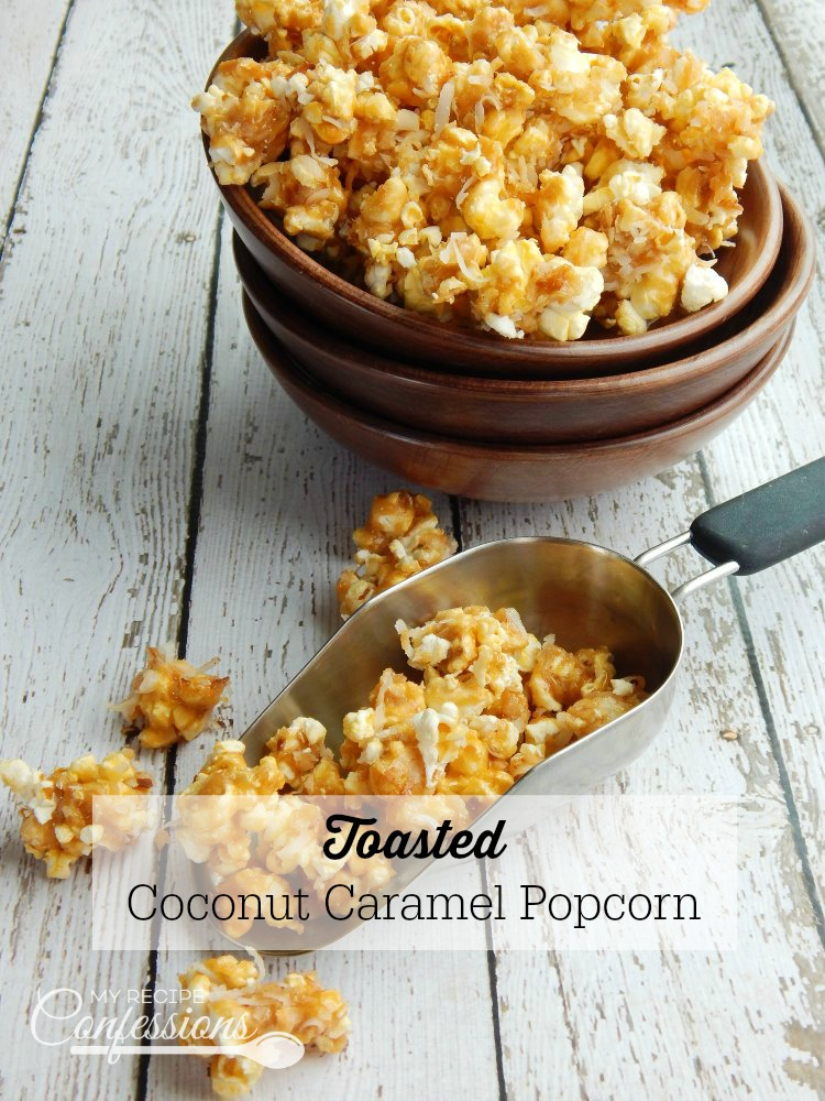 Toasted Coconut Caramel Popcorn is an easy no-bake recipe that is super addicting! I love that it's not a sticky caramel popcorn, and the toasted coconut is absolutely heavenly! It makes a delicious treat for a party or just an afternoon snack.