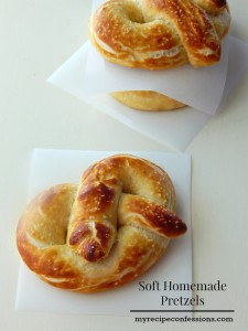 Soft Homemade Pretzels beats all the other pretzel recipes hands down! They are perfect for an after school snack or cut them into bite size for appetizers. My family loves these pretzels and we make them all the time!