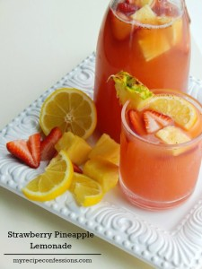 It doesn't have to be summer to make this Strawberry Pineapple Lemonade. My mouth waters just thinking about this drink. It is an easy recipe that you can whip up in minutes. Every time I make this lemonade people ask me for the recipe.