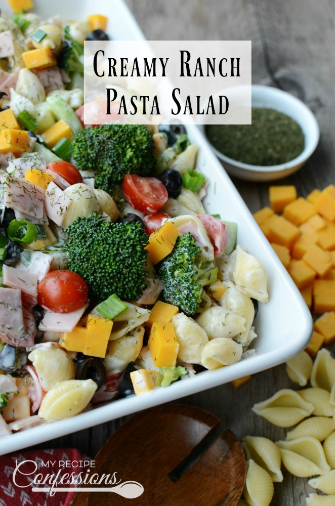 Creamy Ranch Pasta Salad is the best pasta salad! My family always requests this salad for family parties. I love the ranch dressing, it is by far the best I have ever tasted. And, it's a great way to get your kids to eat more veggies.