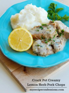 I am always looking for good crockpot recipes. This Crock Pot Creamy Lemon Herb Pork Chops is one of the best recipes I have tried. The sauce is packed with flavor and the pork chops are so tender they fall apart. I wanted to lick my plate it was do good. This recipe is definitely a keeper!