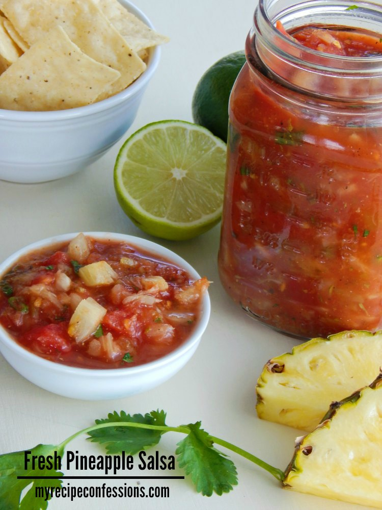 Fresh Pineapple Salsa. This salsa isn't just for the summer. You can enjoy it all year long. You might have a few salsa recipes already, but this is one you need to try!  It is so incredibly easy to make. We rarely have leftovers because my family eats it as fast as I make it. It is a great gluten free and vegetarian recipe.