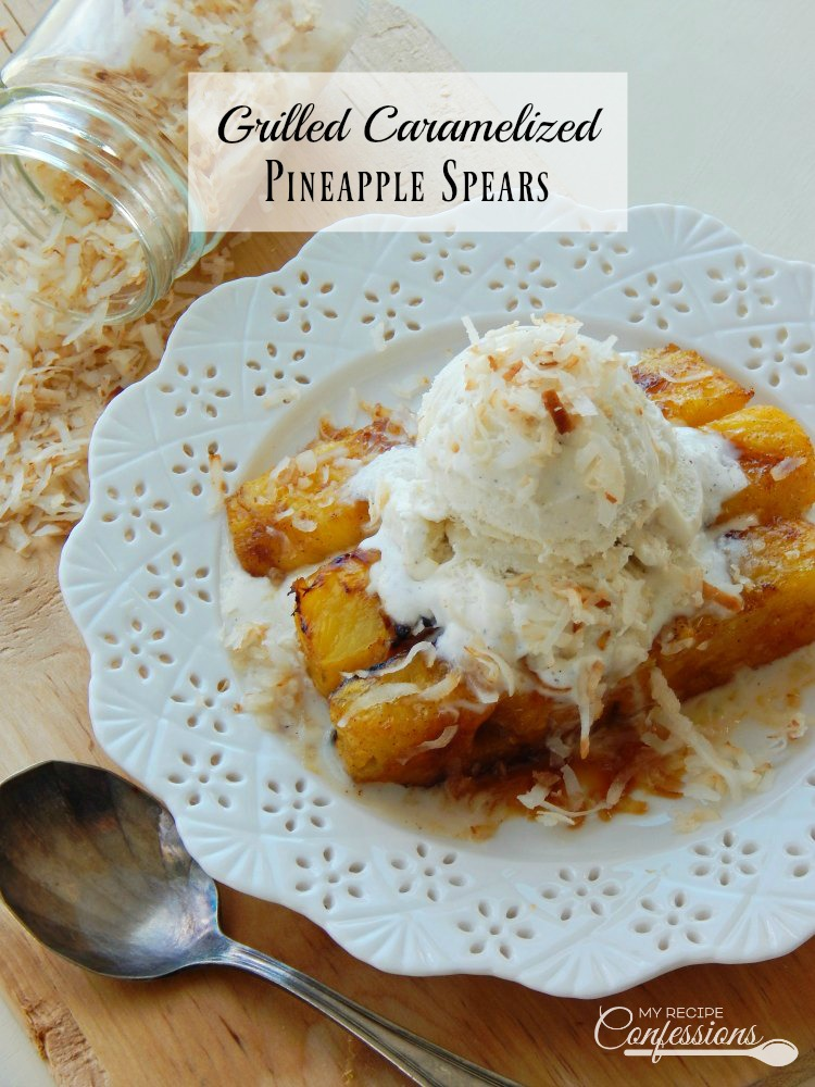 Grilled Caramelized Pineapple Spears are the perfect summer dessert because you don't have to heat up your kitchen. They are so fast, easy and there is very little to clean up after. Top it will vanilla ice cream and you have a truly refreshing dessert that everybody will love!
