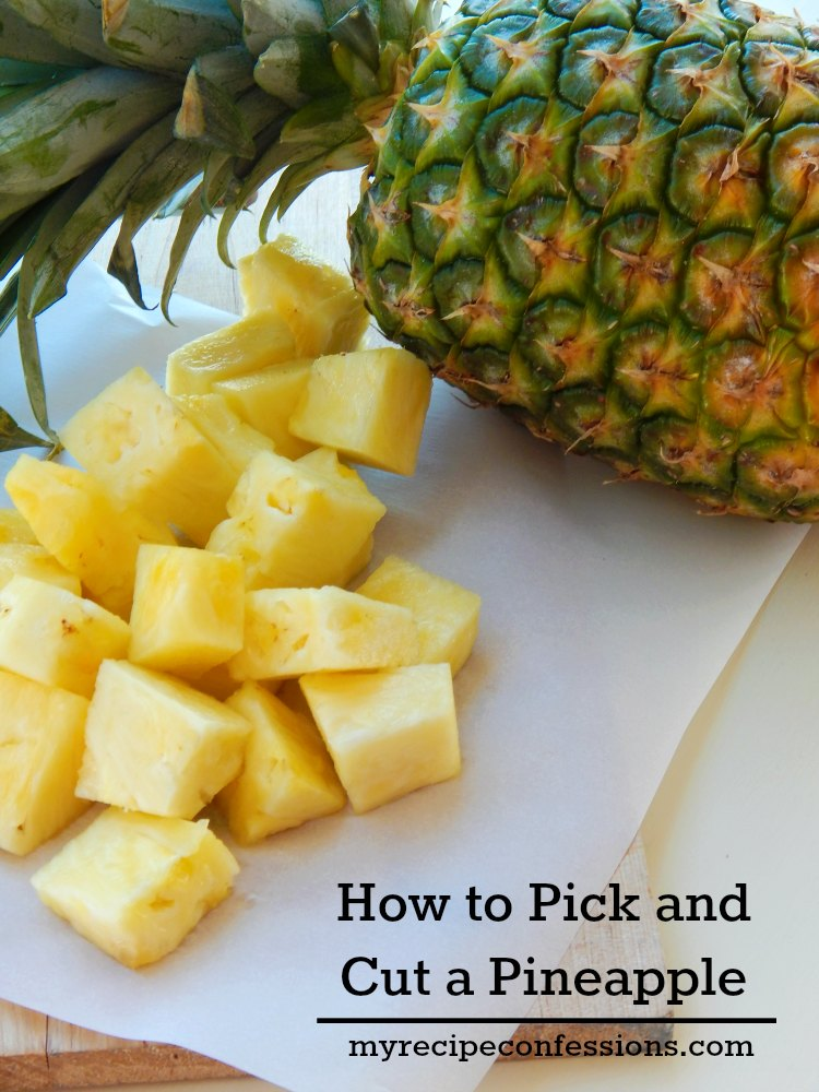 How To Pick and Cut a Pineapple is the perfect guide to picking a juicy ripe pineapple and cutting it so there isn't any waste. If you love fresh pineapple like we do at our house, then you don't want to miss this guide!