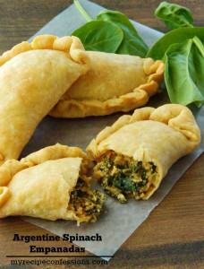 Argentine Spinach Empanadas. These empanadas are Heavenly! Time spent in the kitchen making these empanadas is time well spent! These empanadas not only make great appetizers, they are a great vegetarian dish as well. The dough is flaky but not dry and the spinach filling is packed with flavor!