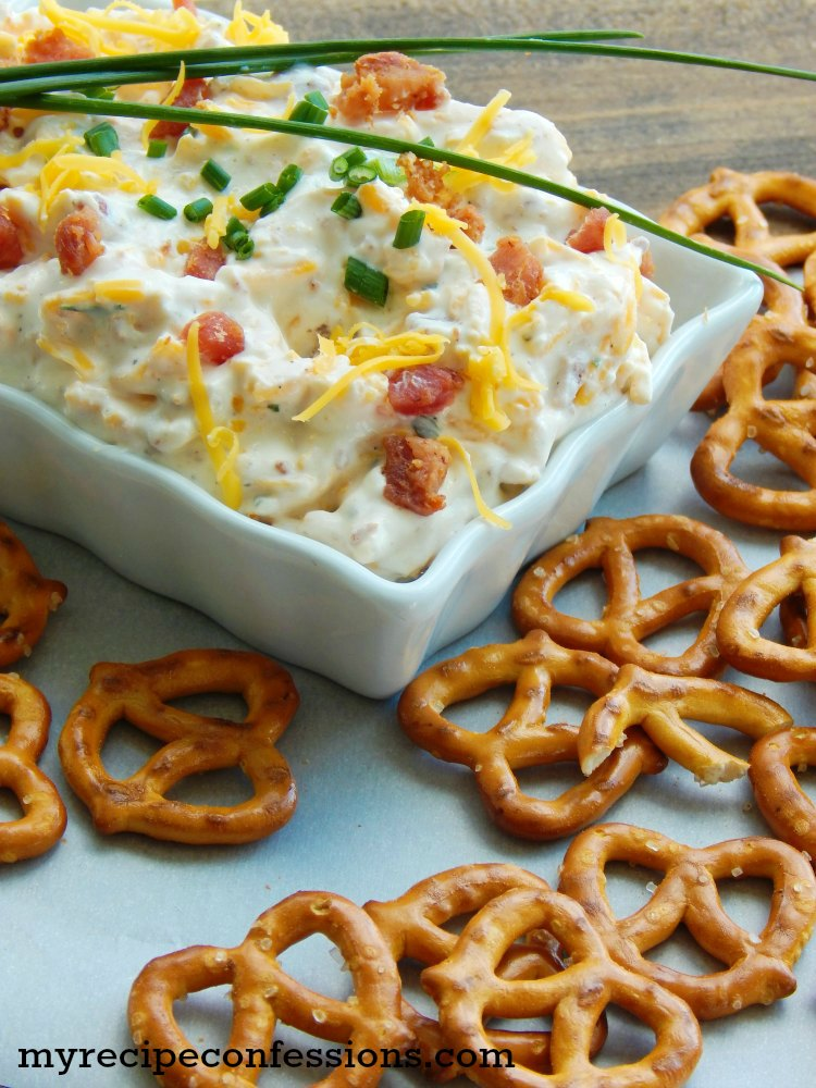 Cheesy Bacon Ranch Dip. This dip is my all-time favorite dip. It is super easy to make and there is rarely leftovers. Other recipes call for a long list of ingredients but this one only has 4 ingredients. It is one of the best appetizers for parties because it is gluten-free so everybody can enjoy it. I like to serve it with pretzels, crackers, or fresh veggies.