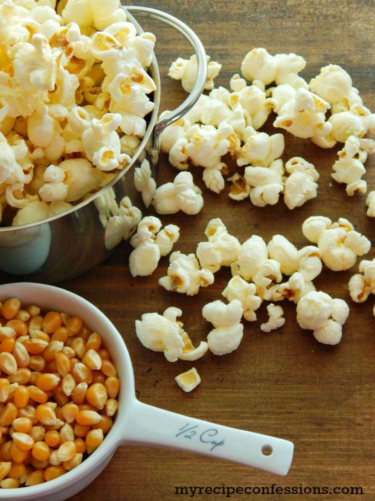 How to make perfect stovetop popcorn. This popcorn is like diy movie theater popcorn. Forget the microwave stuff this recipe and tutorial beat all the other popcorn recipes hands down! It makes a great appetizers or snack for your Super Bowl party, or just a casual movie night. We love to make this popcorn in the summer when we are camping.