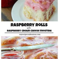 Raspberry Rolls with Raspberry Cream Cheese Frosting