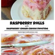 Raspberry Rolls with Raspberry Cream Cheese Frosting