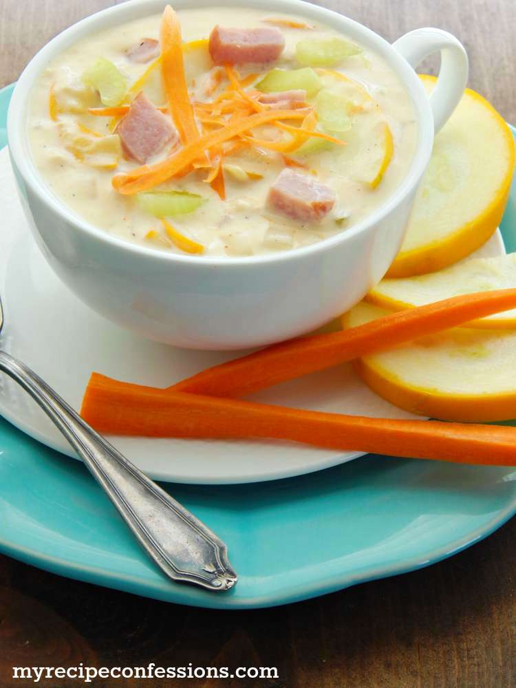 Yellow Squash and Ham Soup is the best soup recipe ever! It is so creamy and flavorful, I really can't get enough of it!
